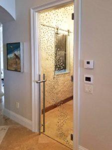 Glass door leading to wine cellar