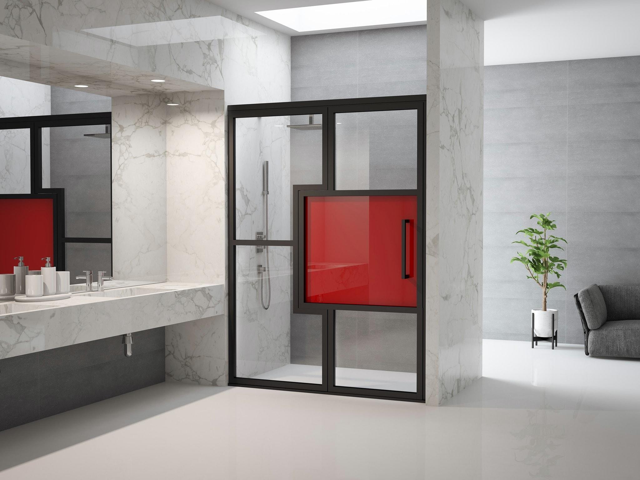 Grid shower doors